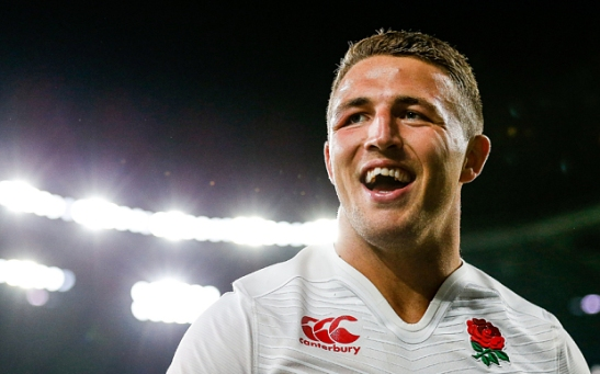 Strictly Editorial Use Only - No Merchandising.  Mandatory Credit: Photo by JMP/REX Shutterstock (4962908as)  England Inside Centre Sam Burgess smiles after England win the match  England v France, United Kingdom - 15 Aug 2015